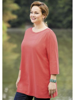 Button Shoulder Knit Tee