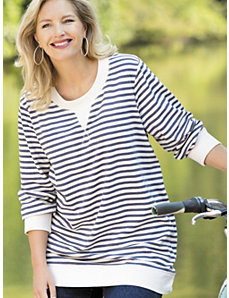 French Terry Knit Striped Sweatshirt by Ulla Popken