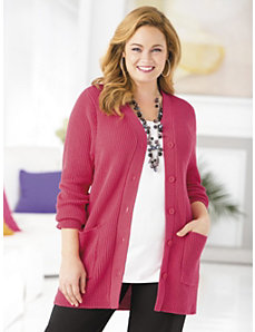 Classic Shaker-stitch Cardigan Sweater by Ulla Popken