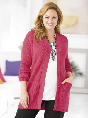 Classic Shaker-stitch Cardigan Sweater