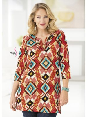 Ikat Print Knit Waisted Tunic