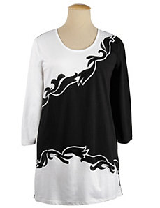 Positive Negative Embroidered Knit Tunic by Ulla Popken