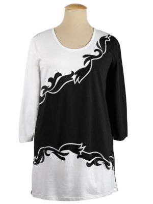 Positive Negative Embroidered Knit Tunic