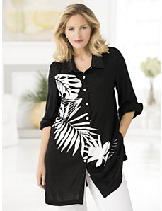 Rainforest Leaves Knit Tunic by Ulla Popken