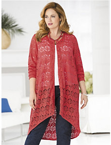 Allover Crochet Knit Duster by Ulla Popken