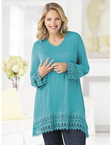Lace-border Knit Tunic by Ulla Popken