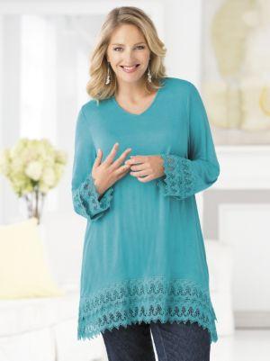 Lace-border Knit Tunic