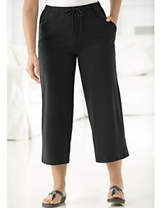 Stretch Knit Drawstring Cropped Pants by Ulla Popken