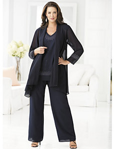 3-piece Beaded Pant Set by Ulla Popken