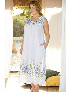 Floral Border Print Nightgown by Ulla Popken