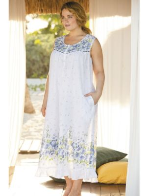 Floral Border Print Nightgown
