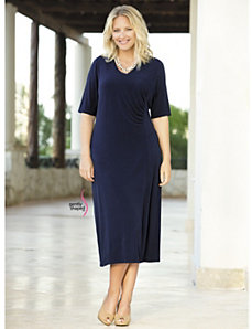 Matte Jersey Ruched Dress by Ulla Popken