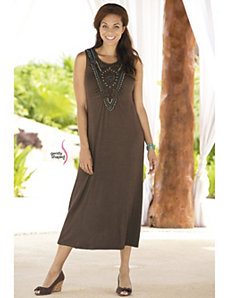 Beaded Allure Knit Tank Dress by Ulla Popken