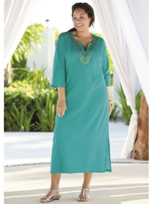 Beaded Gauze Caftan