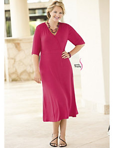 Faux Surplice Knit Dress by Ulla Popken
