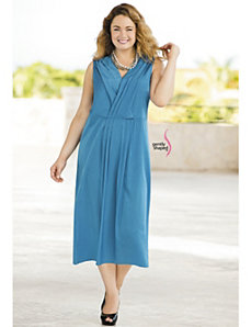 Pleated Surplice Solid Dress