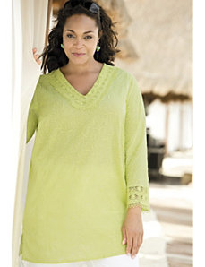 Climbing Vines Crochet-trim Tunic by Ulla Popken