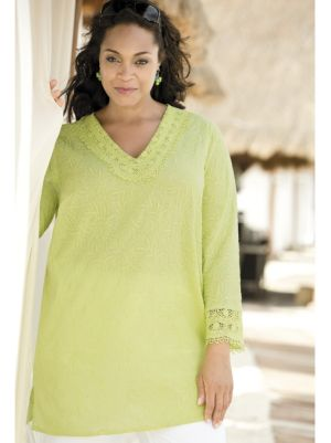 Climbing Vines Crochet-trim Tunic