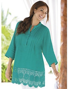 Lace Border Gauze Tunic by Ulla Popken