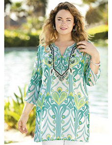 Ikat Nouveau Beaded Tunic by Ulla Popken
