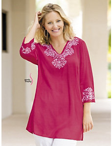 Embroidered Gently Shaped Tunic by Ulla Popken