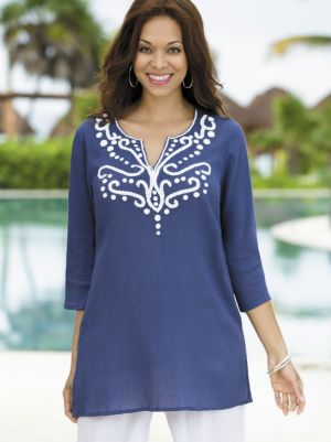 Scrolled Chandelier Gauze Tunic
