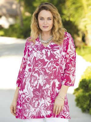 Floral Silhouettes Print Tunic