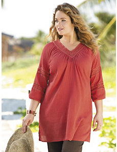 Gauze and Crochet Tunic by Ulla Popken