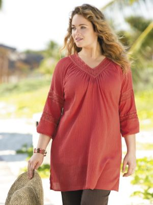 Gauze and Crochet Tunic