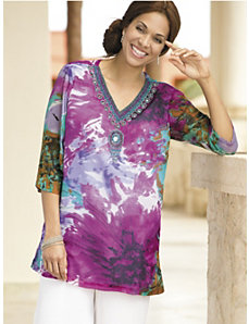 Watercolor Beaded Medallion Tunic by Ulla Popken