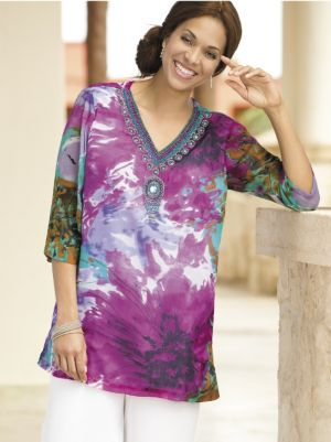 Watercolor Beaded Medallion Tunic