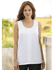 Pleat-front Knit Tank by Ulla Popken