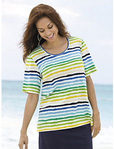 Wavy Waters Striped Knit Tee by Ulla Popken
