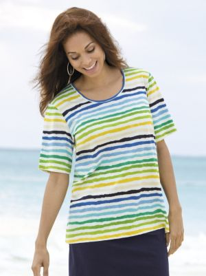 Wavy Waters Striped Knit Tee
