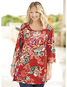 Tropic Fantasy Floral Knit Tunic by Ulla Popken