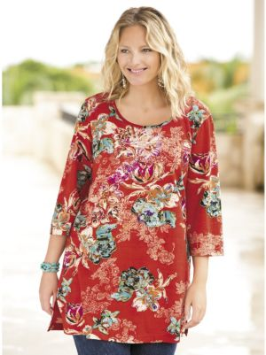 Tropic Fantasy Floral Knit Tunic