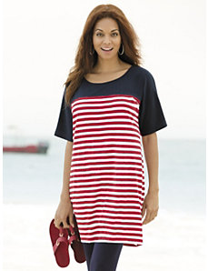 Colorblocked Striped Knit Tunic by Ulla Popken