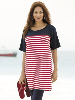 Colorblocked Striped Knit Tunic