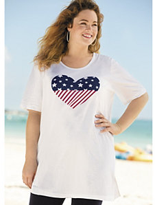 "I ""Heart"" the Flag Knit Tunic by Ulla Popken"
