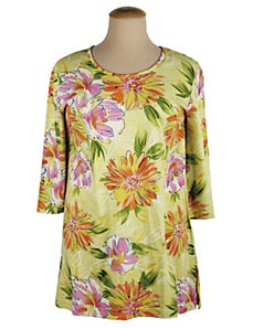 Flower Sketches Shaped Knit Tunic by Ulla Popken