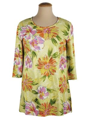 Flower Sketches Shaped Knit Tunic