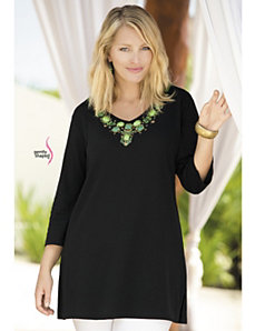 Treasure Trove Waisted Knit Tunic by Ulla Popken
