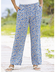 Crazy Daisy Print Pants by Ulla Popken