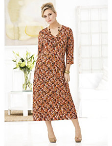 Rich Russets Ikat Knit Dress by Ulla Popken