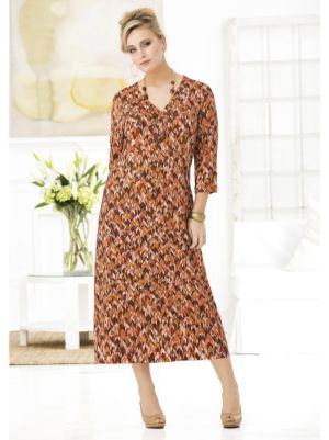 Rich Russets Ikat Knit Dress
