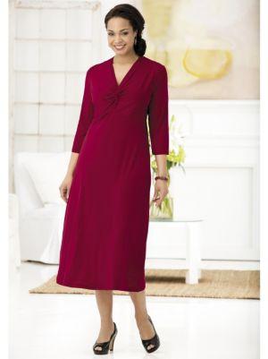 Matte Jersey Twist-neck Empire Dress