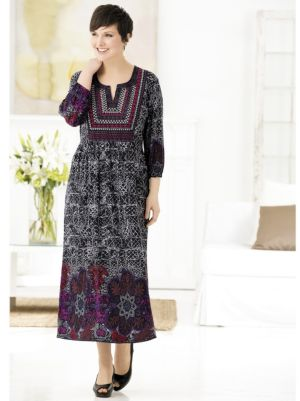 Joyful Geometrics Border Print Knit Dress