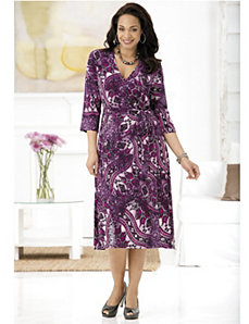 Purple Majesty Faux Wrap Knit Dress by Ulla Popken