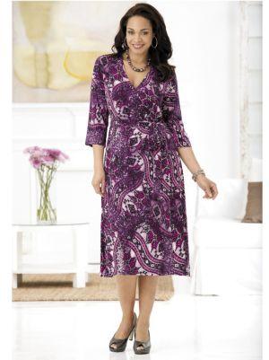 Purple Majesty Faux Wrap Knit Dress