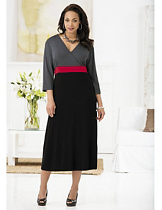 Surplice-look Colorblocked Knit Dress by Ulla Popken
